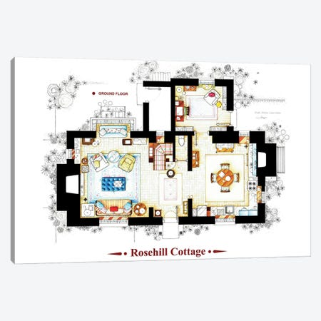 The Cottage From The Holiday - Ground Floor Canvas Print #TVF45} by TV Floorplans & More Art Print
