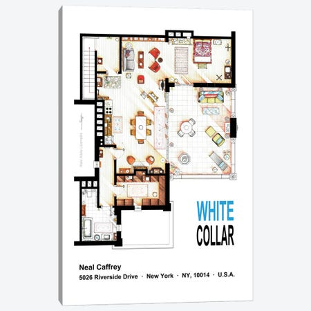 Neal Caffrey's Aptartment From White Collar Canvas Print #TVF51} by TV Floorplans & More Canvas Art Print