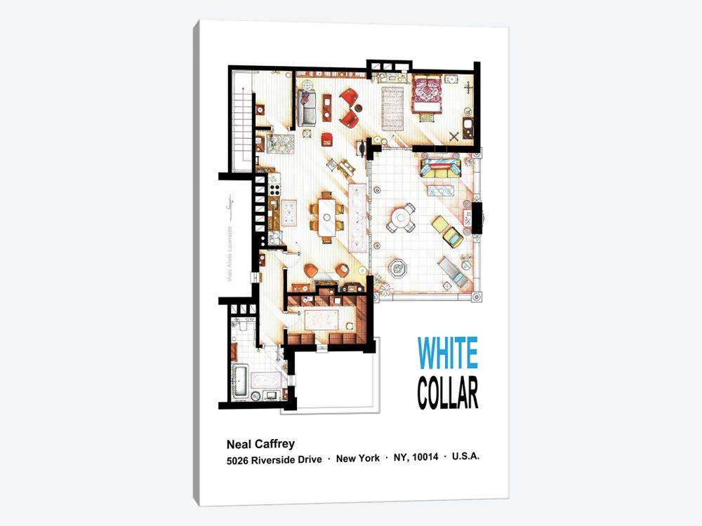 Neal Caffrey's Aptartment From White Collar by TV Floorplans & More 1-piece Canvas Wall Art