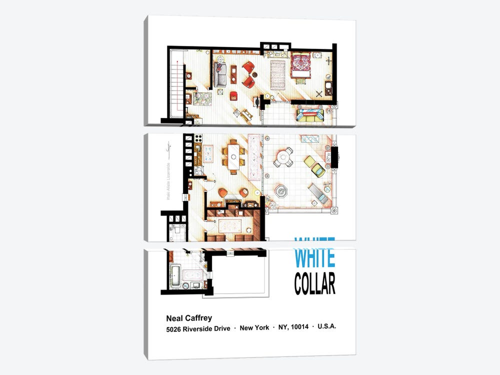 Neal Caffrey's Aptartment From White Collar by TV Floorplans & More 3-piece Canvas Wall Art