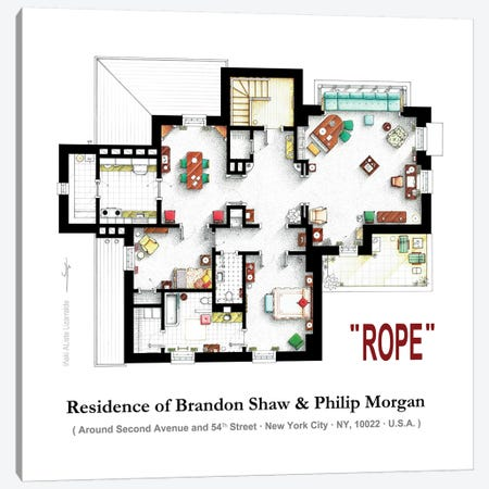 Apartment From The Film Rope By Alfred Hitchcock Canvas Print #TVF52} by TV Floorplans & More Art Print