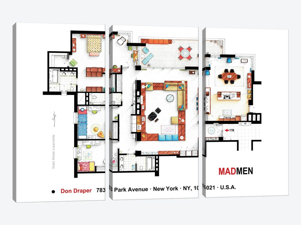 Don Draper's Apartment From Mad Men by TV Floorplans & More 3-piece Canvas Art