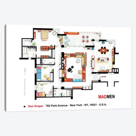 Don Draper's Apartment From Mad Men Canvas Print #TVF53} by TV Floorplans & More Canvas Art Print