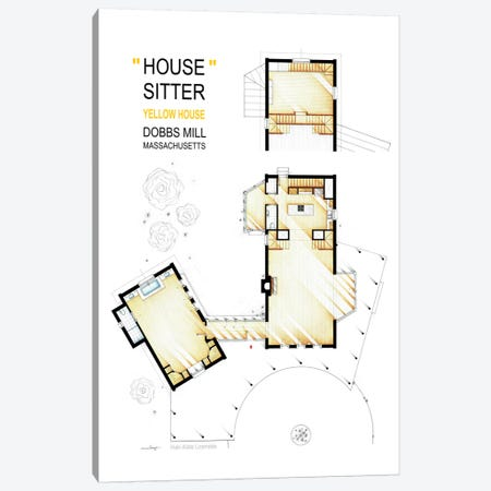 The Yellow House From The Movie House Sitter Canvas Print #TVF54} by TV Floorplans & More Canvas Artwork