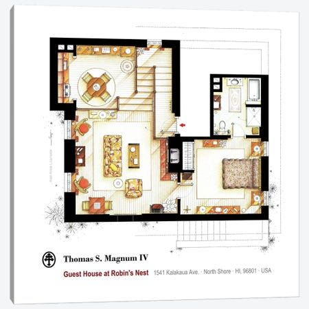 Residence Of Magnum P.I. - Main Floor Canvas Print #TVF55} by TV Floorplans & More Canvas Artwork
