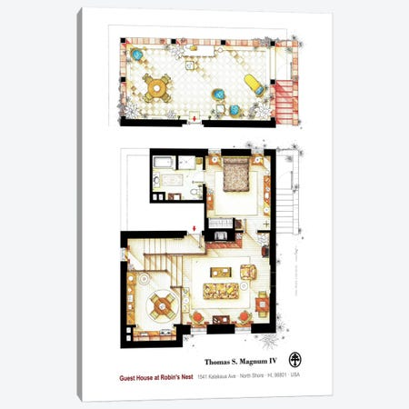 Residence Of Magnum P.I. - Poster Canvas Print #TVF56} by TV Floorplans & More Canvas Artwork