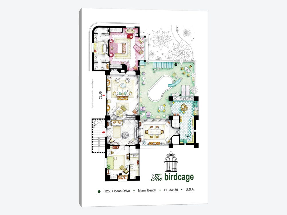 Floorplan Of The Apartment From The Birdcage (1996) by TV Floorplans & More 1-piece Canvas Artwork