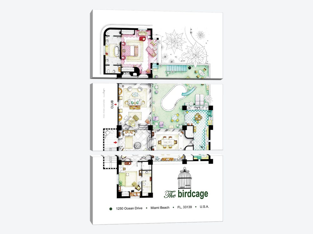 Floorplan Of The Apartment From The Birdcage (1996) by TV Floorplans & More 3-piece Canvas Artwork