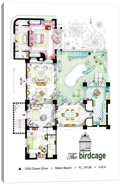 Floorplan Of The Apartment From The Birdcage (1996) Canvas Art Print