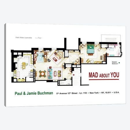 Floorplan from MAD ABOUT YOU TV series Canvas Print #TVF61} by TV Floorplans & More Canvas Artwork