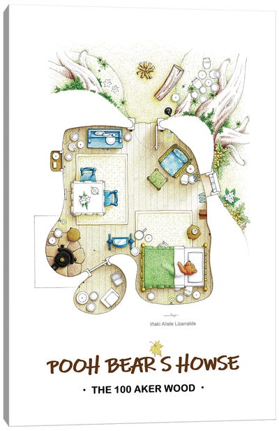 Floorplan of the little orange bear under the tree Canvas Art Print