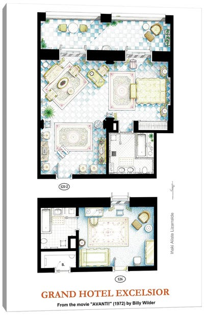 Floorplans from the movie AVANTI! Canvas Art Print
