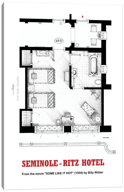Floorplan of hotel room from the movie SOME LIKE IT HOT Canvas Art Print