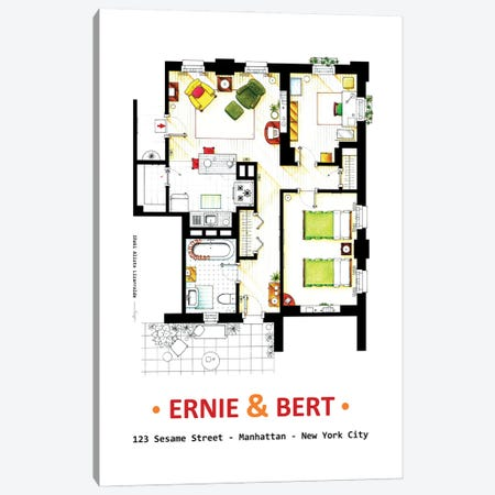 Ernie And Bert's Apartment Canvas Print #TVF69} by TV Floorplans & More Canvas Wall Art