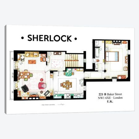 Apartment From BBC's Sherlock Series Canvas Print #TVF6} by TV Floorplans & More Canvas Wall Art