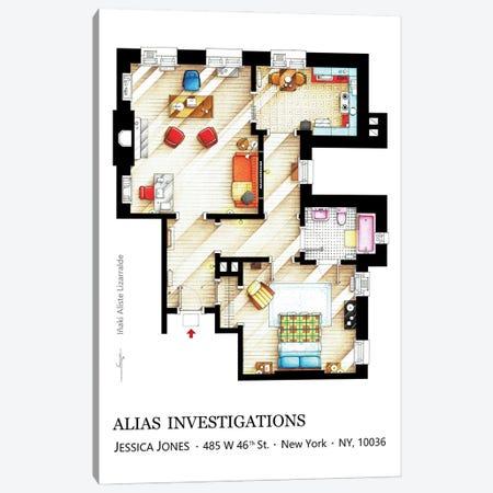Apartment/Office Of Jessica Jones Canvas Print #TVF70} by TV Floorplans & More Canvas Art Print