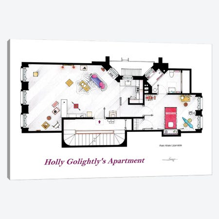 Floorplan From Breakfast At Tiffany's Canvas Print #TVF71} by TV Floorplans & More Canvas Art Print