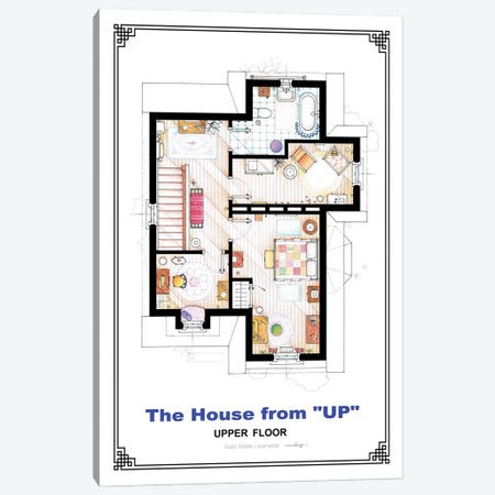 Floorplan From Up - First Floor Canvas Print #TVF73} by TV Floorplans & More Art Print