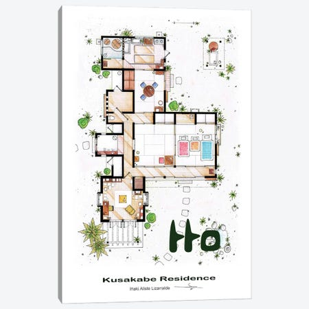 The House From Tonari No Totoro Canvas Print #TVF78} by TV Floorplans & More Canvas Print