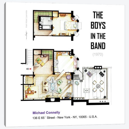 Apartment From The Boys In The Band (1970) Canvas Print #TVF79} by TV Floorplans & More Art Print
