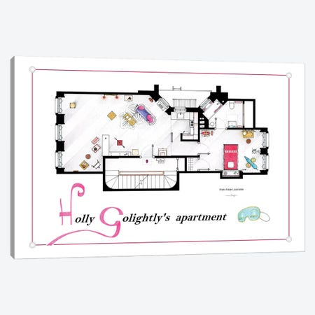 Apartment From Breakfast At Tiffany's Canvas Print #TVF7} by TV Floorplans & More Canvas Wall Art