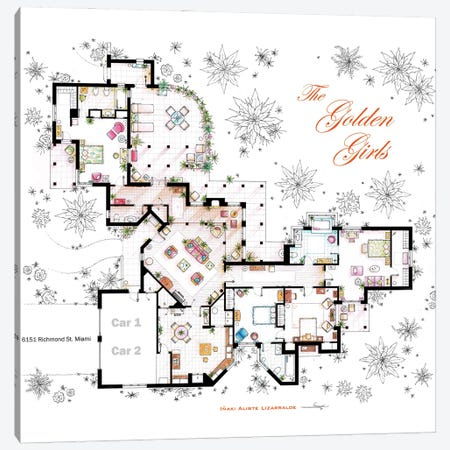 Floorplan From The Golden Girls Canvas Print #TVF80} by TV Floorplans & More Canvas Artwork