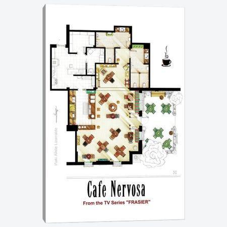 Floorplan Of Cafe Nervosa From Frasier Canvas Print #TVF83} by TV Floorplans & More Canvas Artwork