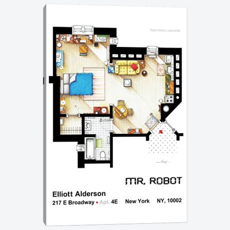 Apartment From Mr Robot Canvas Print #TVF9} by TV Floorplans & More Art Print
