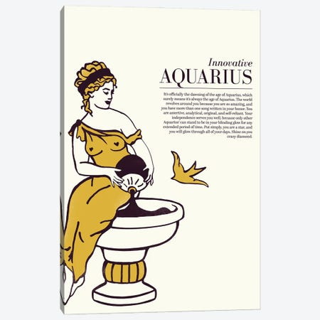 Zodiac Gold Aquarius Canvas Print #TWG108} by The Whiskey Ginger Canvas Art