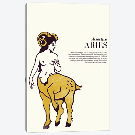 Zodiac Gold Aries Canvas Print #TWG109} by The Whiskey Ginger Canvas Artwork