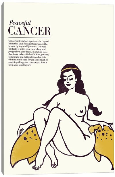 Zodiac Gold Cancer Canvas Art Print
