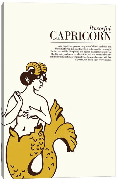 Zodiac Gold Capricorn Canvas Art Print