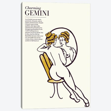 Zodiac Gold Gemini Canvas Print #TWG112} by The Whiskey Ginger Canvas Art Print