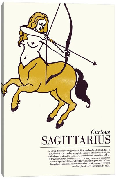 Zodiac Gold Sagittarius Canvas Art Print