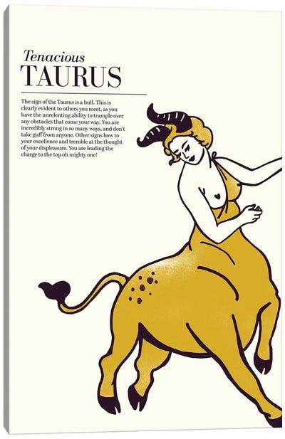 Zodiac Gold Taurus Canvas Art Print