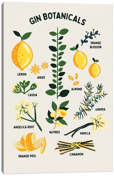 Botanical Gin Chart Canvas Art Print