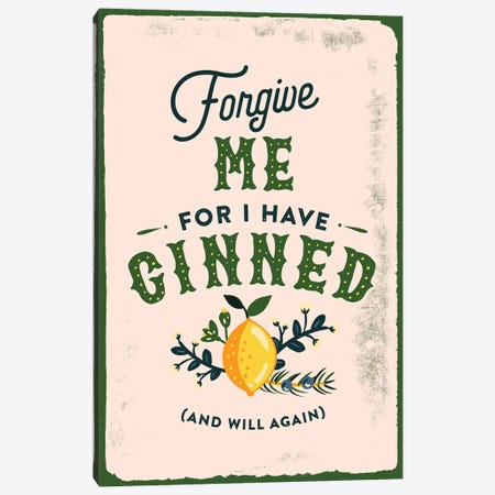 Botanical Gin Sin Canvas Print #TWG16} by The Whiskey Ginger Canvas Wall Art