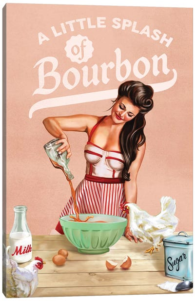 Bourbon Chickens Pinup Canvas Art Print