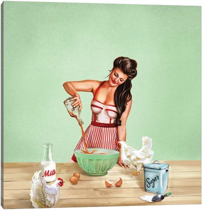 Bourbon Chickens Pinup Tray Canvas Art Print