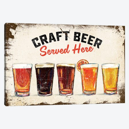 Craft Beer Lineup Vintage Sign Canvas Print #TWG26} by The Whiskey Ginger Art Print