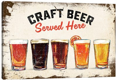 Craft Beer Lineup Vintage Sign Canvas Art Print