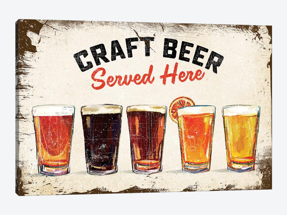 Craft Beer Lineup Vintage Sign by The Whiskey Ginger 1-piece Art Print