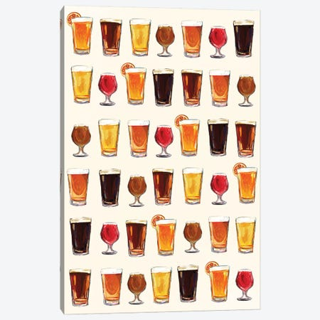 Craft Beer Pattern Canvas Print #TWG28} by The Whiskey Ginger Canvas Art
