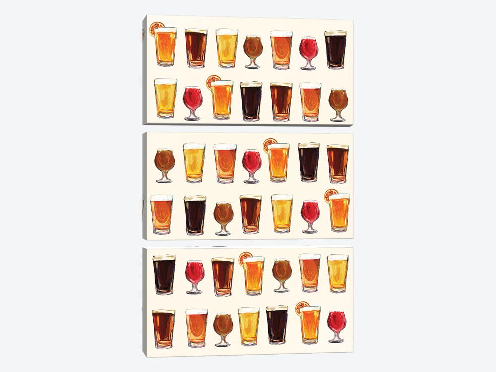 Craft Beer Pattern by The Whiskey Ginger 3-piece Canvas Art Print