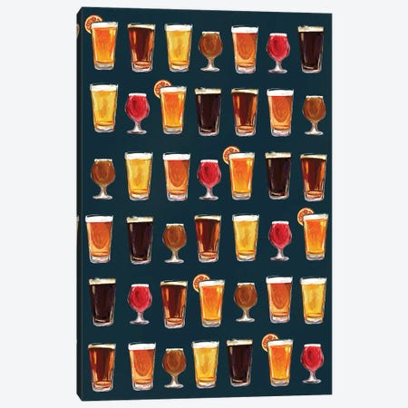Craft Beer Pattern Dark Canvas Print #TWG29} by The Whiskey Ginger Canvas Art