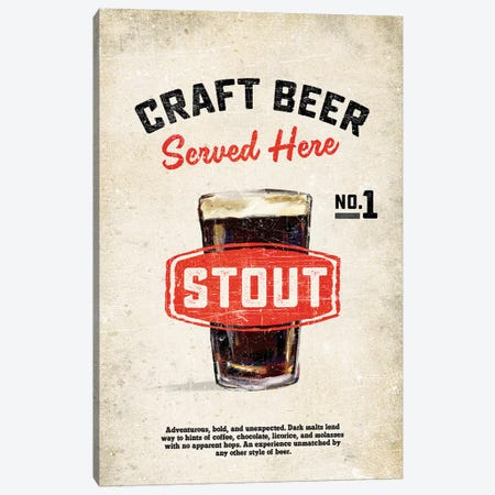 Craft Beer Stout Vintage Sign Canvas Print #TWG32} by The Whiskey Ginger Canvas Print