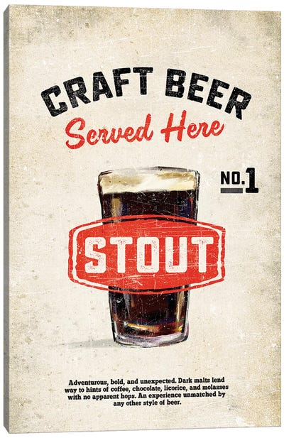 Craft Beer Stout Vintage Sign Canvas Art Print