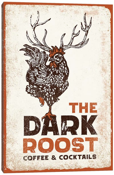 Dark Rooster Burnt Orange Canvas Art Print