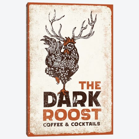 Dark Rooster Burnt Orange Canvas Print #TWG33} by The Whiskey Ginger Art Print