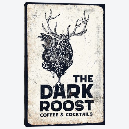 Dark Rooster Midnight Canvas Print #TWG34} by The Whiskey Ginger Canvas Artwork